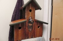 Four Apartment Copper Door Knob Birdhouse