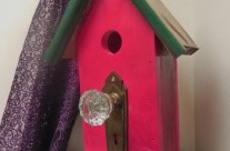 Green & Burgandy Birdhouse with Glass Knob